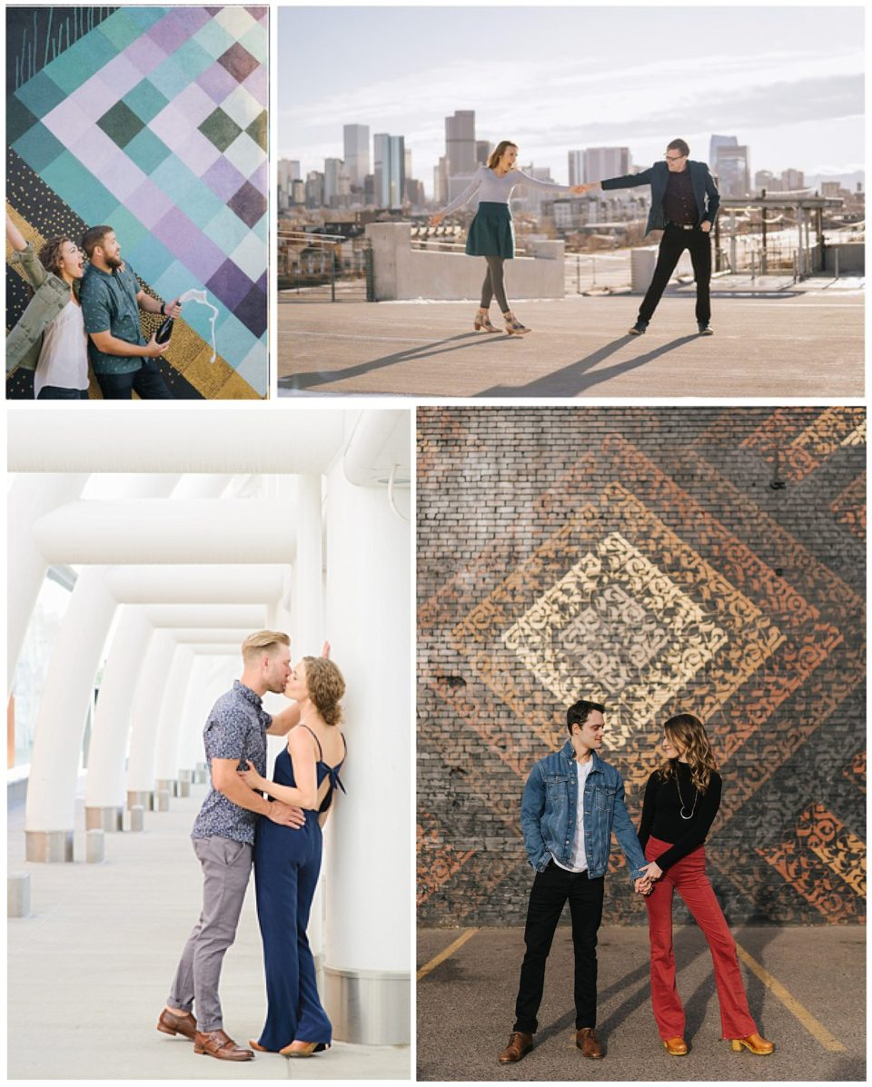 colorful city engagement photos
