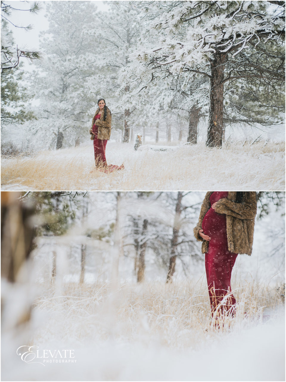 Snowy Colorado Winter Maternity Photos