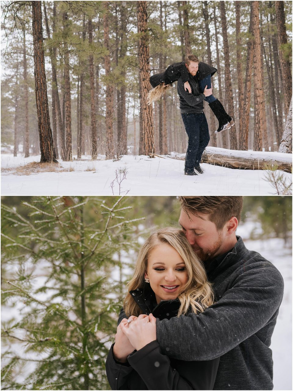 snow mountain woods engagement