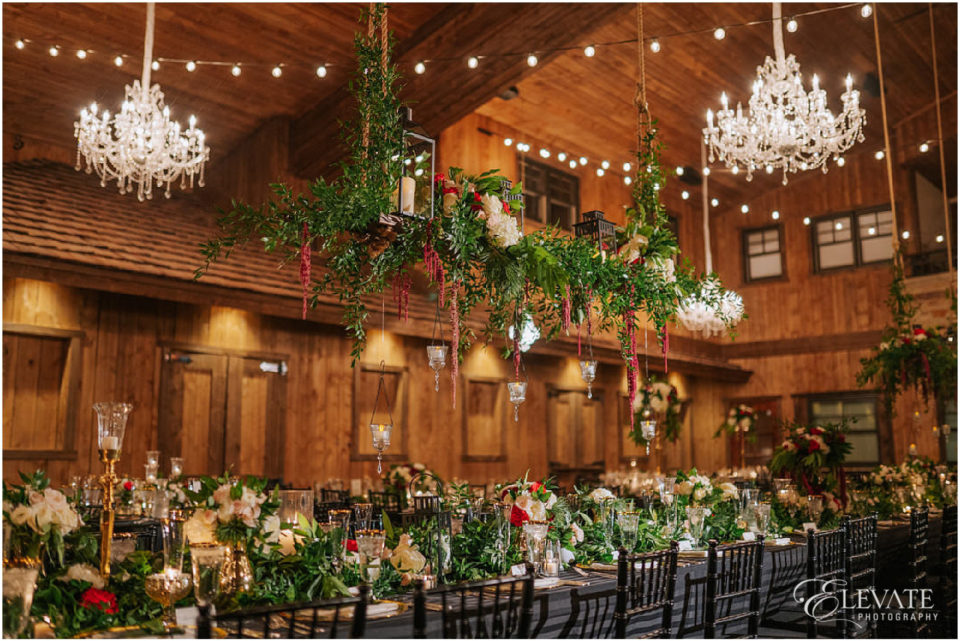 spruce mountain ranch reception detail chandelier kings table