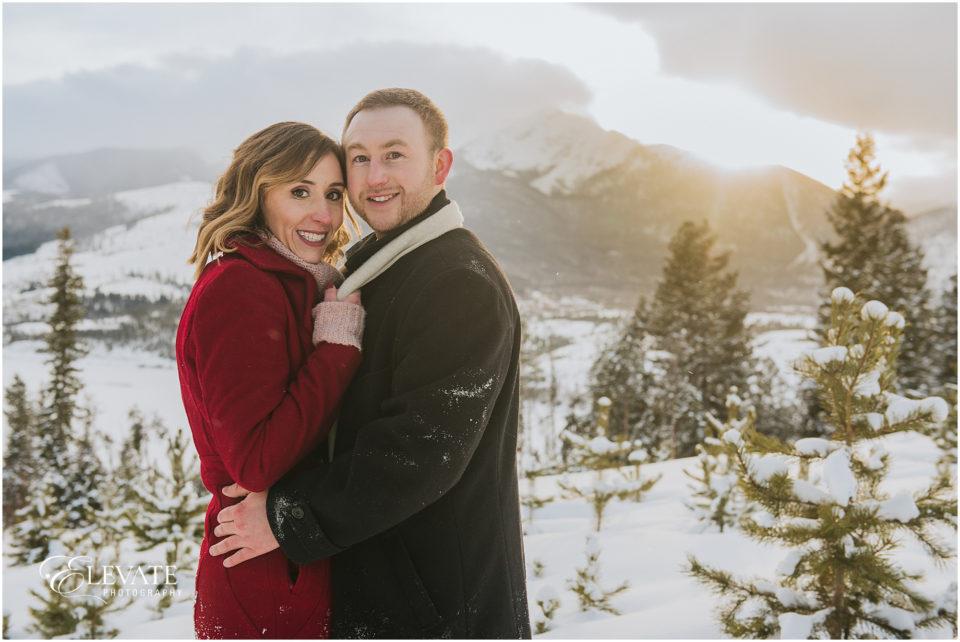 Snowy Colorado Mountain Engagement Photos