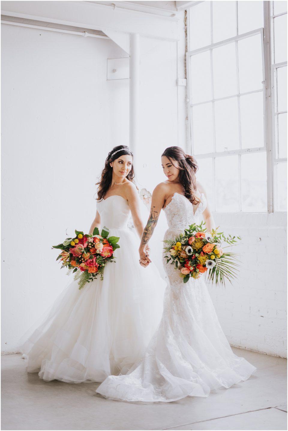 same sex bride urban wedding